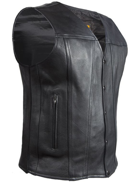 A Men's Classic Motorcycle Club Vest - Naked Leather - Concealed Carry Pockets - MV8014-11-DL
