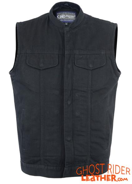 Denim Motorcycle Vest - Hoodie - Upgraded Gun Pockets - Up To 8XL - DM982-DS