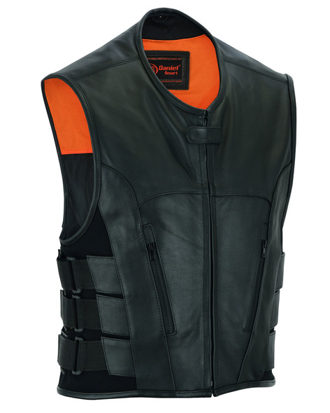 Leather Motorcycle Vest - Men's - Updated SWAT Team - Up To 8XL - DS007-DS