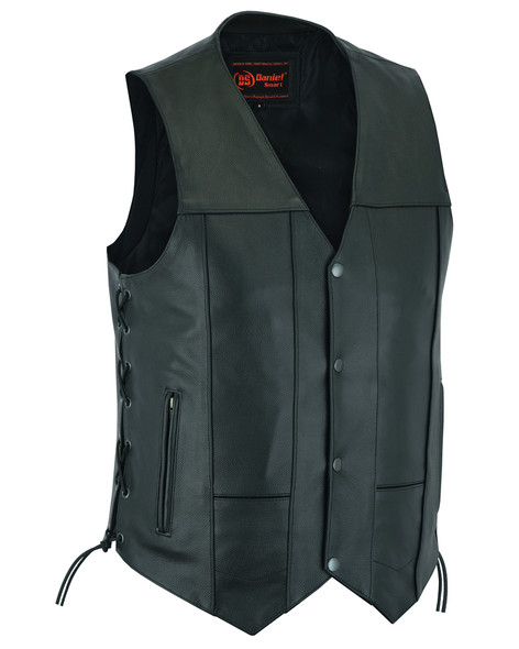 Leather Motorcycle Vest - Men's - 10 Pockets - Utility - Up To 8XL - DS100-DS