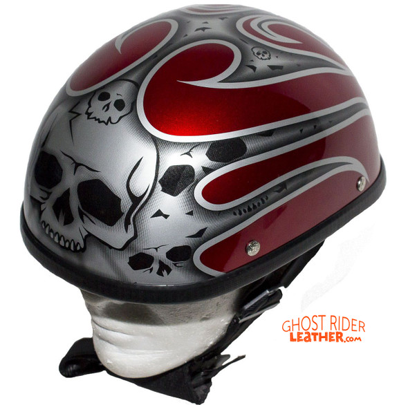 Novelty Motorcycle Helmet - Silver Skulls - Burgundy Flames - H401-D4-BURG-1-DL