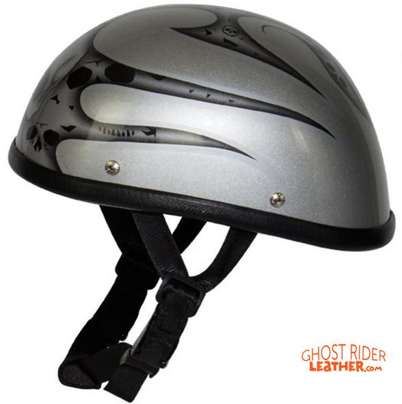 Novelty Motorcycle Helmet - Silver Skulls - Silver Flames - H401-D4-SILVER-DL