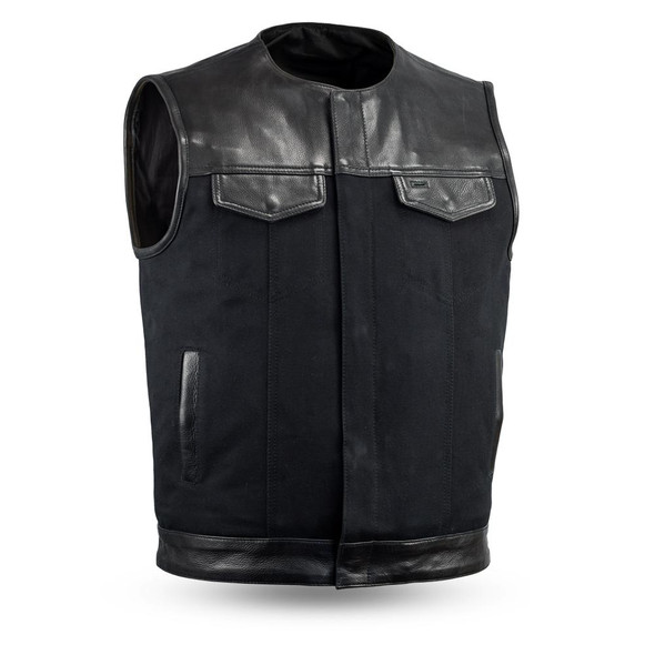 Canvas and Leather Motorcycle Vest - Men's - Up To 5XL - No Collar - 49/51 - FIM4951CNV-N-FM
