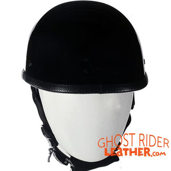 Novelty Motorcycle Helmet - High Gloss Black - Eagle Style - Shorty - H401-11-DL
