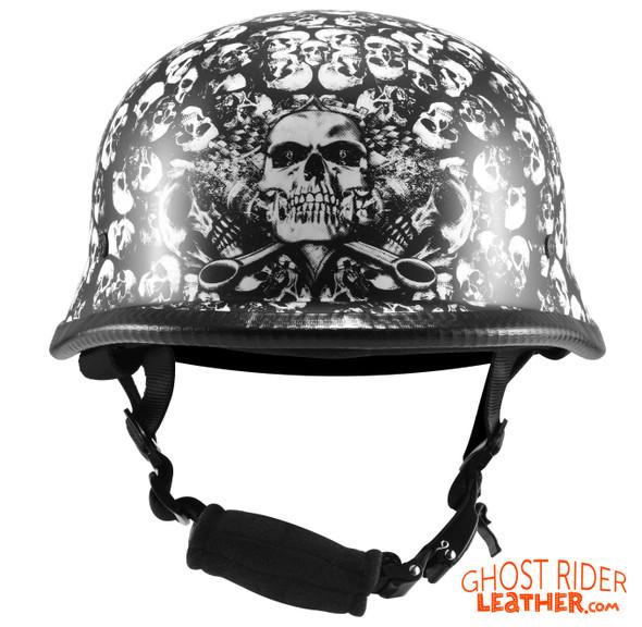 Novelty Motorcycle Helmet - White Skull Boneyard - German - H402-D3-WHITE-DL