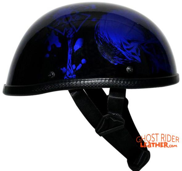 Novelty Motorcycle Helmet - Gloss Blue Horned Skeletons - H401-D5-BLUE-DL