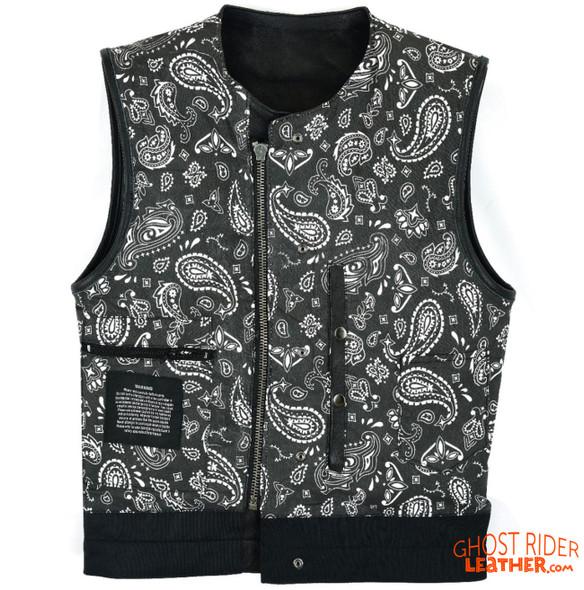 Leather Vest - Men's - Motorcycle Club - Black Paisley Lining - Up To Size 60 - MV78024-PL-11-DL