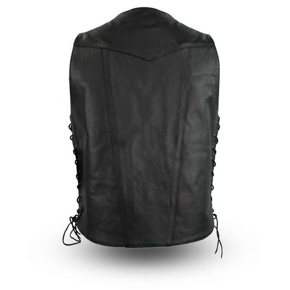 Leather Motorcycle Vest - Men's - Western - Up To 8XL Tall - Top Biller - FIM630CDMT-FM