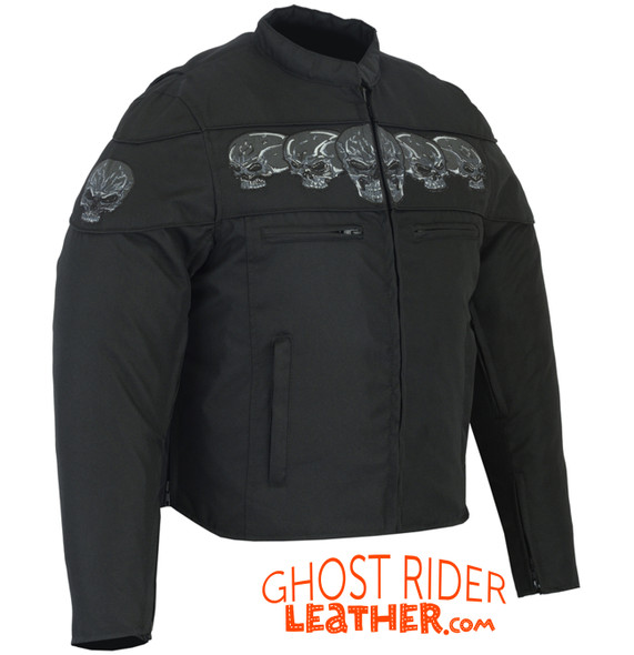 Textile Motorcycle Jacket - Reflective Skulls - Up To 6XL - Concealed Carry Pockets - DS600-DS