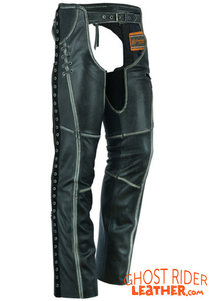 Leather Chaps - Women's - Gray - Hip Set - Stretchy Thighs - DS-485V-DS Size Chart