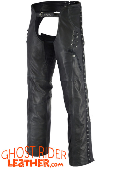 Leather Chaps - Women's - Black - Hip Set - Stretchy Thighs - DS-485-DS