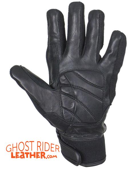 Leather Gloves - Men's - Full Finger - Knuckle Protector - Black - GLZ108-BLK-DL