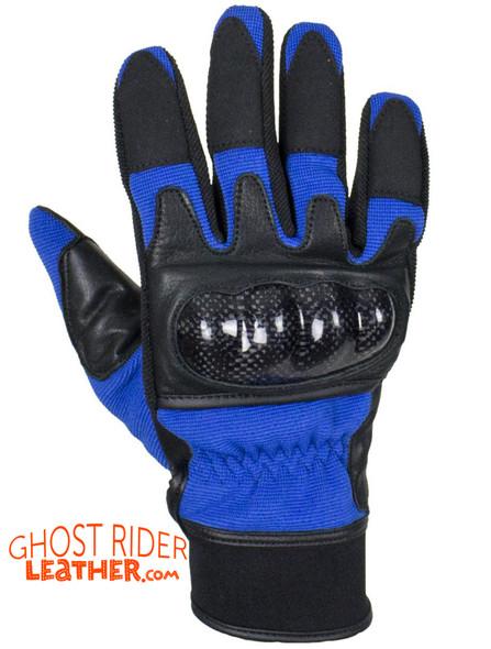 Leather Gloves - Men's - Full Finger - Knuckle Protector - Blue - GLZ108-BLUE-DL