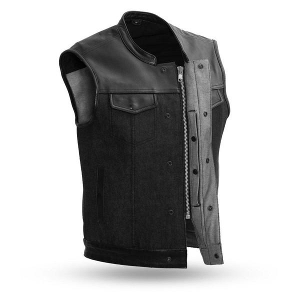 Denim and Leather Motorcycle Vest - Men's - Up To 5XL - 49/51 - FIM662DM-FM
