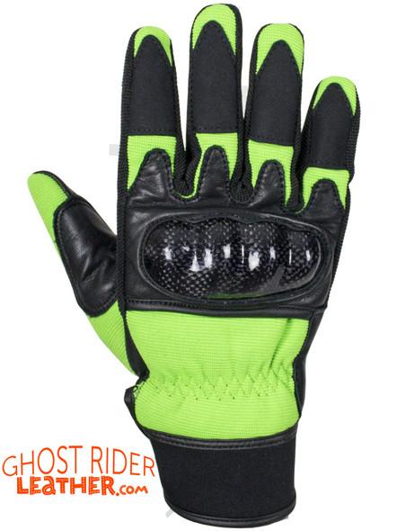 Leather Gloves - Men's - Full Finger - Knuckle Protector - Green - GLZ108-GREEN-DL