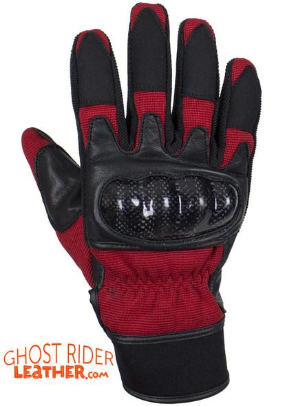 Leather Gloves - Men's - Full Finger - Knuckle Protector - Red - GLZ108-RED-DL