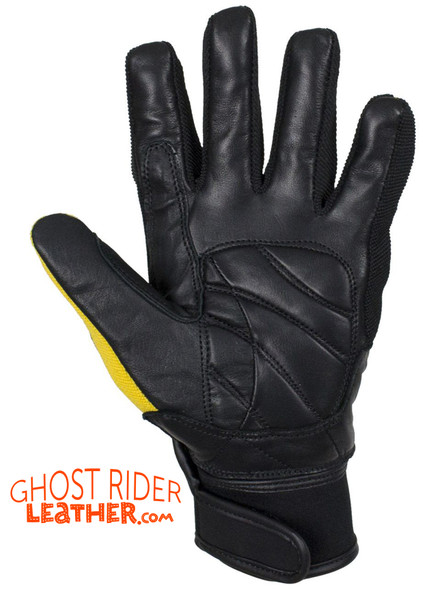 Leather Gloves - Men's - Full Finger - Knuckle Protector - Yellow - GLZ108-YELLOW-DL