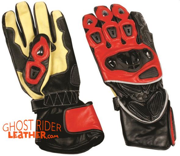 Leather Gloves - Men's - Sport Bike - Knuckle Protector - Yellow Red Black - AL3081-AL