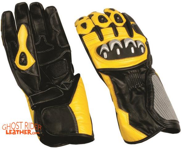 Leather Gloves - Men's - Sport Bike - Knuckle Protector - Yellow Black - AL3082-AL