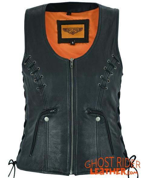 Leather Vest - Women's - Concealed Gun Pockets - Grommets - LV8500-07-DL