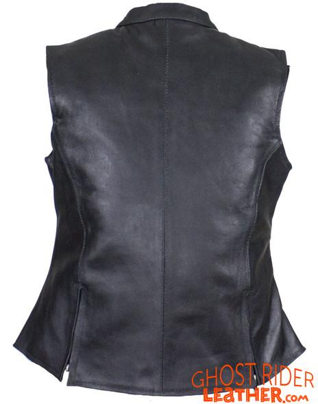 Leather Vest - Women's - Concealed Gun Pockets - Zippers - CL-LV8508-SS-DL