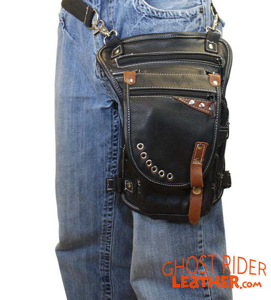 Leather Thigh Bag - Gun Pocket - Black - Touch of Brown - Motorcycle - AC1029-11-BRN3T-DL