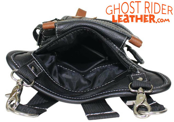 Leather Thigh Bag - Gun Pocket - Black - Touch of Brown - Motorcycle - AC1029-11-BRN2T-DL
