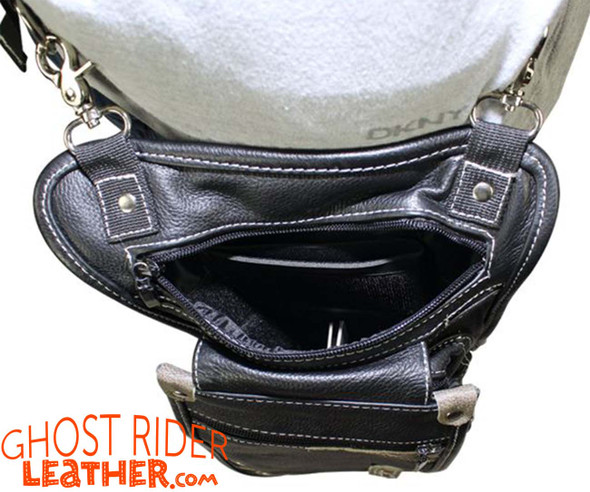 Leather Thigh Bag - Gun Pocket - Black - Touch of Distressed Brown - Motorcycle - AC1029-11-BRN12T-DL