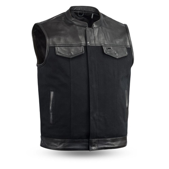 Leather and Canvas Motorcycle Vest - Men's - Up To 8XL- Collar - 49/51 - FIM4951CNV-C-FM