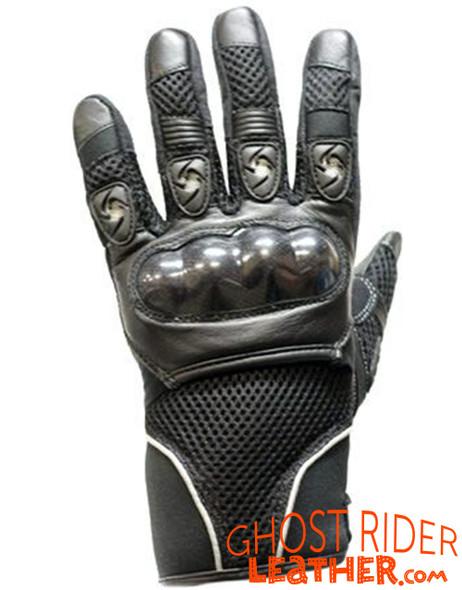 Leather Gloves - Men's - Air Vents - Knuckle Protector - Black - GG02-DL