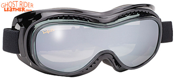 Goggles - Fit Over Eyeglasses - Smoke Silver Mirror - Motorcycle Eyewear - 9300-SILVER-DS