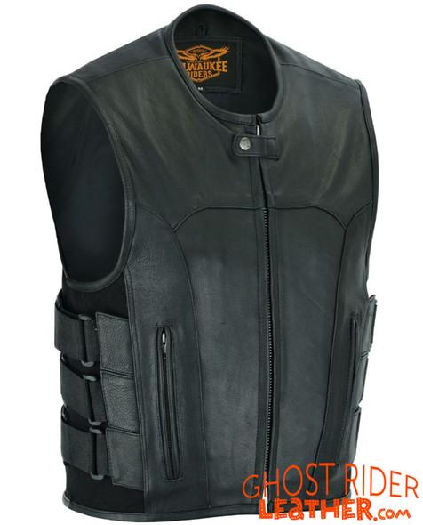 Leather Motorcycle Vest - Men's - Up To Size 5XL - Tactical - SWAT - MR-MV315-11-DL