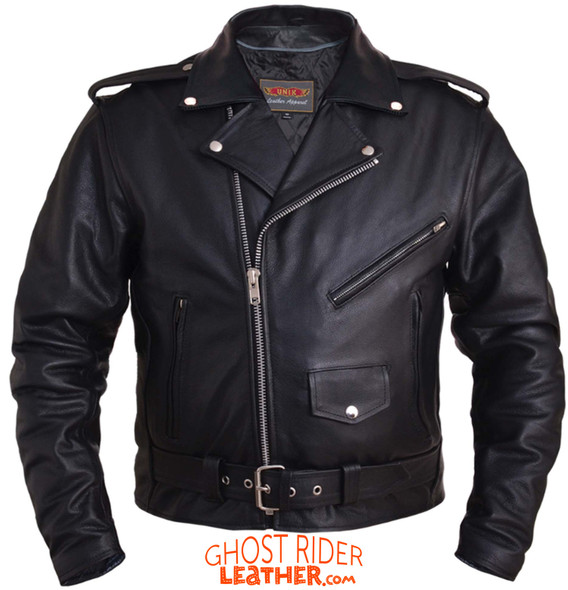 Leather Motorcycle Jacket - Men's - Up To Size 8XL - Classic - 12-ZO-UN
