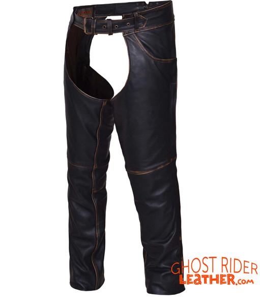 Leather Chaps - Unisex - Black Rub Off - Motorcycle - 720-RUB-UN