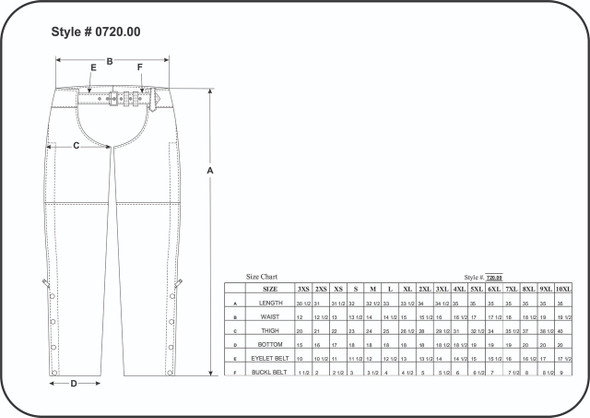 Leather Chaps - Unisex - Black Rub Off - Motorcycle - 720-RUB-UN Size Chart