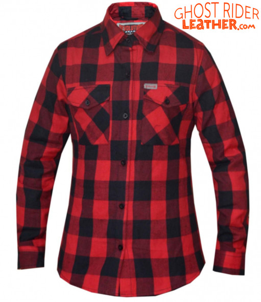 Flannel Motorcycle Shirt - Women's - Red and Black - Up To Size 5XL - TW255-01-UN