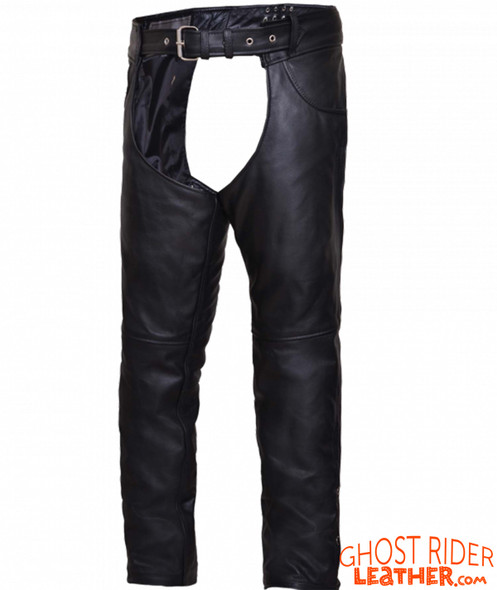 Leather Chaps - Unisex - Black - Motorcycle - 720-00-UN