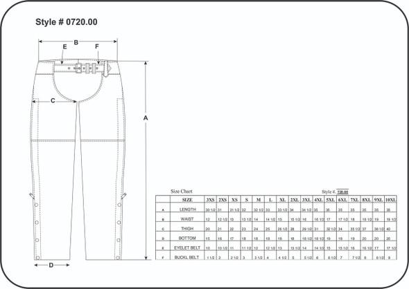 Leather Chaps - Unisex - Black - Motorcycle - 720-00-UN Size Chart
