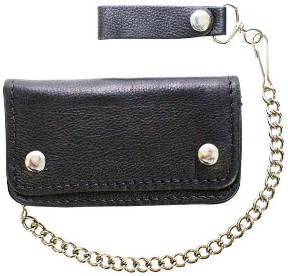 Leather Chain Wallet - Heavy Duty - Naked Leather - Bifold - 6 Inch - AC50-11HD-DL