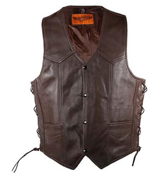 Leather Motorcycle Vest - Men's - Brown - Up To Size 64 - MV303-BRN-11-DL