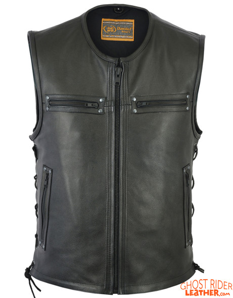 Leather Motorcycle Vest - Men's - Up To Size 6XL - Side Laces - 10 Pocket - Big and Tall - DS146-DS