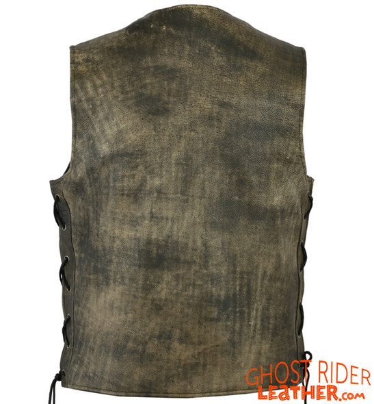 Leather Motorcycle Vest - Men's - Antique Brown - Up To Size 8XL - Side Laces - Big and Tall - DS107-DS