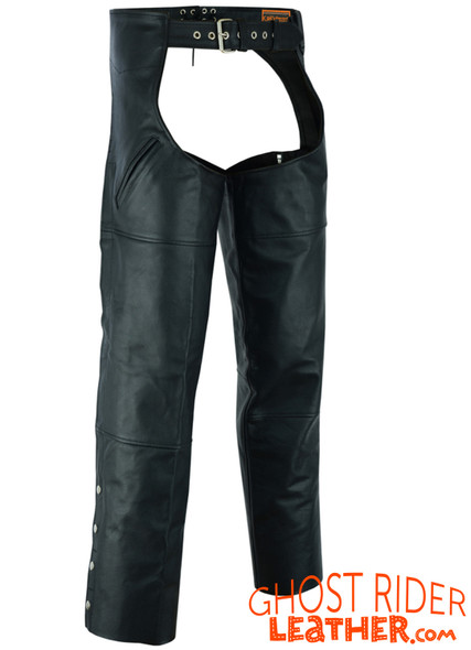 Men's Leather Chaps - Motorcycle - Unisex - Dual Deep Pocket - Up To 8XL - DS-410-DS