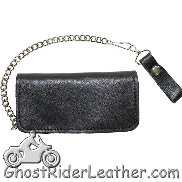 7.75 inch Heavy Duty Black Leather Chain Wallet -Live To Ride - Bifold - SKU GRL-WALLET2-11HD-DL