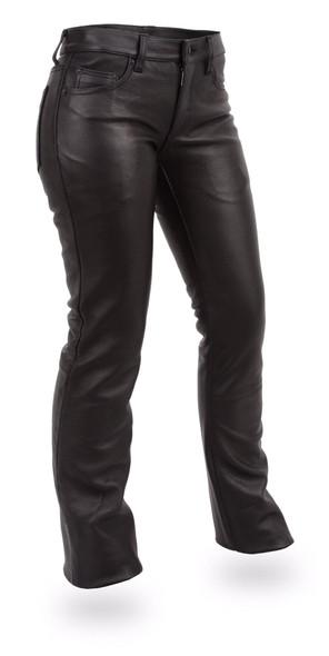 Women's Leather Motorcycle Pants - 5 Pocket Jean Style - Alexis - FIL710CFD-FM