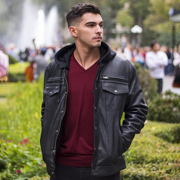 Axel - Mens's Hooded Leather Jean Style Jacket - SKU WBM2760-FM