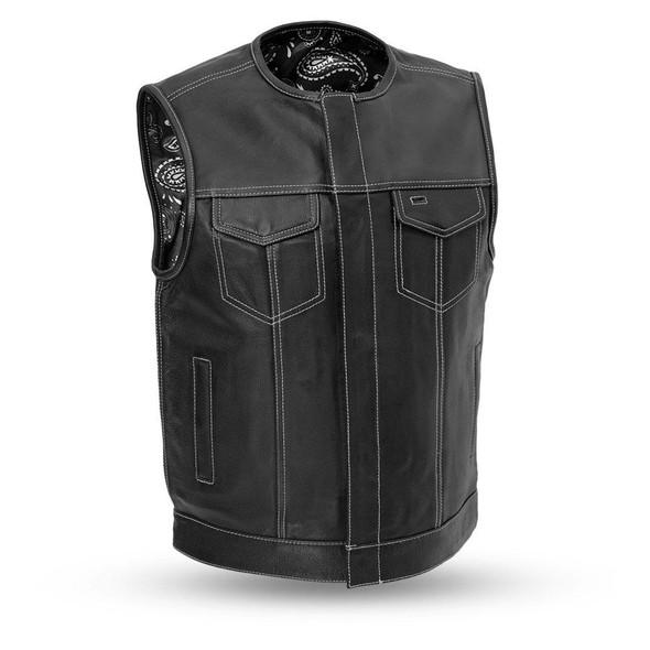 Leather Motorcycle Vest - Men's - Up To 8XL - Choice of Liner - Bandit - FIM636CDM-FM