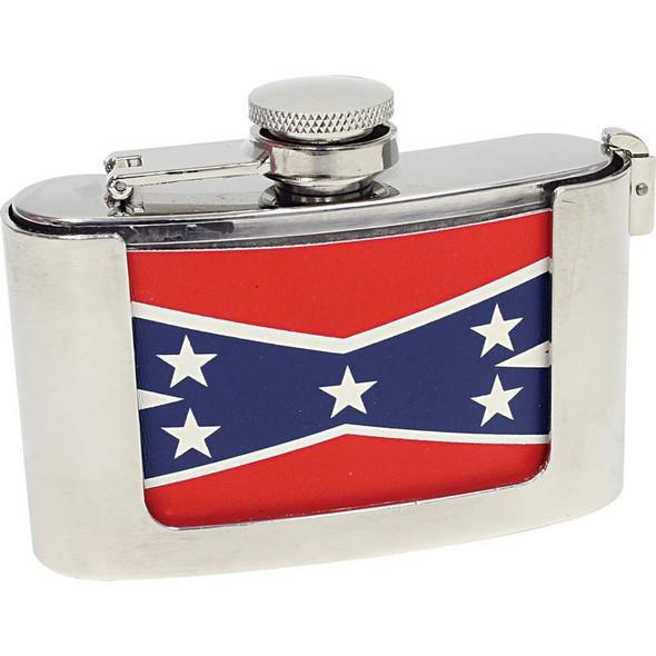 Be A Rebel 3oz Stainless Steel Belt Buckle Flask with Rebel Flag - SKU KTFLASKBKRBL-BN
