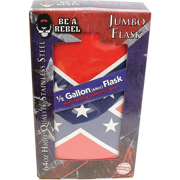 Be A Rebel 64oz Stainless Steel Flask with Rebel Flag Wrap - SKU KTFLASK64RBL-BN