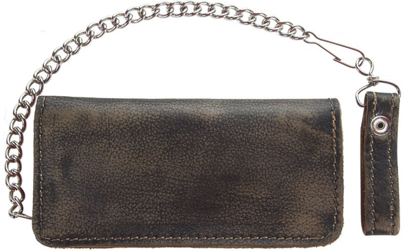 Leather Chain Wallet - Heavy Duty - Distressed Brown - AC51-12HD-DL